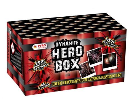 Hero Box:    Sensationelle 44 Schuss Kombi-Batterie mit Fächer-Effekten und abwechslun