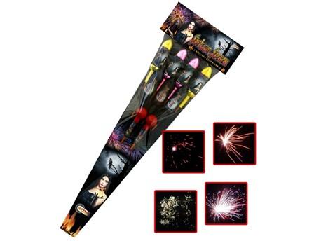 Heiße Hexen:    9-teilig.          Jede Rakete zeichnet sich durch eine Mega-Zerleg