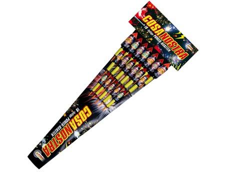 Cosa Nostra:   18-teilig.    Raketen mit Power-Füllung. Rote, grüne sowie bunte Sternenz