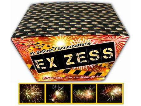 EX-ZESS:    Geballte Ladung an Crackling in Fächerform mit roten, grünen und silbernen