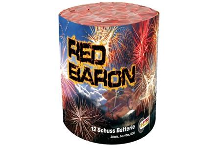 Red Baron:   12-Schuss-Batterie, bis 40 Meter hoch steigende rotebrilliant Blinkerbukett