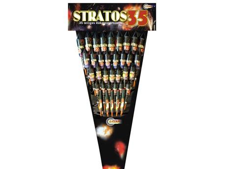 Stratos 35:    Neues 35-teiliges Mega-Raketensortiment mit einem bunten Mix an Crackling-