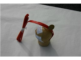Brocade Crown & Red Crossette w. Crackling Pistil:   Brocade Crown & Red Crossette w. Crackling Pistil, Kugelbombe, Kaliber 75,