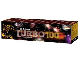 Turbo 100:    Extrem effektstarke Batterie mit roten, grünen, blauen und gelben Sterneffe