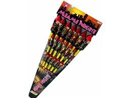 Miami Night:   18-teilig.    Raketen mit Power-Füllung. Rote, grüne sowie bunte Sternenz