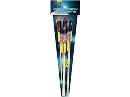 Discovery Rockets:    10-teiligesRaketensortiment mit Blitzzerleger sowie blaue, weiße und lila